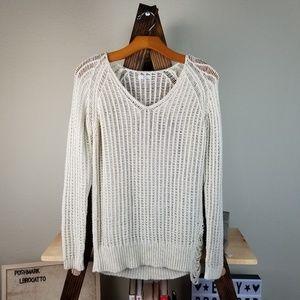Joie Beige Open Knit Distressed Sweater Boho